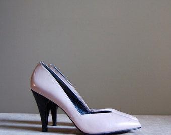 pale pink high heels   80s Philippe Spain leather heels