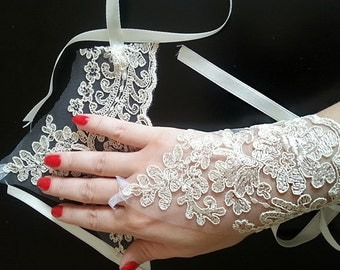 Bridal  Lace Gloves, Beige fingerless gloves, bridal Lace Gloves, wedding bride, bridal gloves,  Wedding Accessory