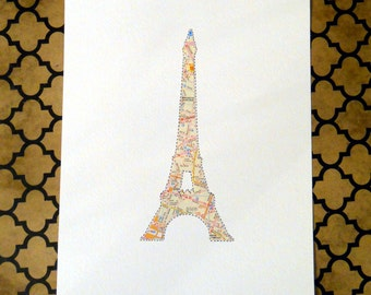 Paris Map Art - Eiffel Tower Wall Art