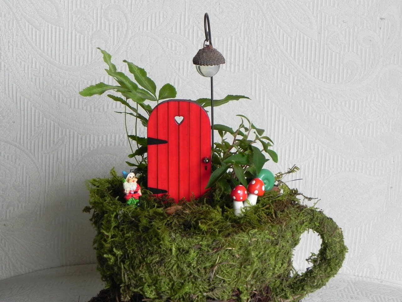 Tiny fairy door accessory for miniature garden red with for Fairy door with key