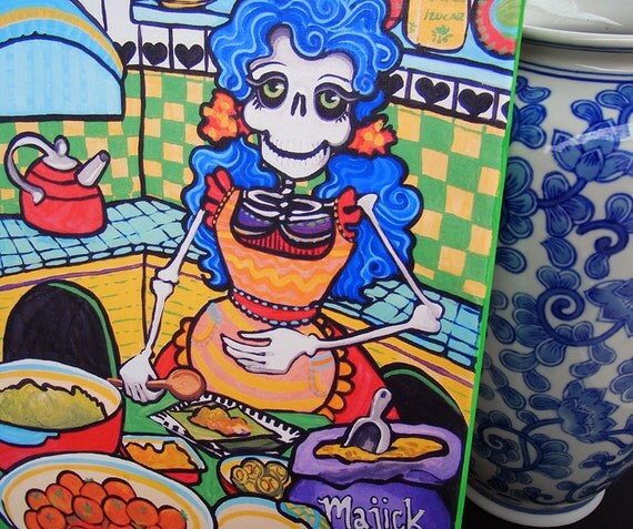 day of the dead kitchen tamales canvas wall decor