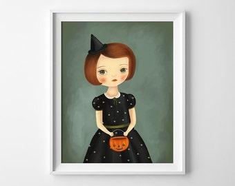 Witch Art Print - Witch Illustraton - Halloween Art Print - Halloween Wall Art