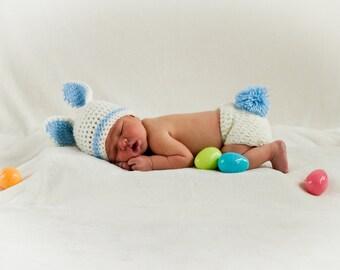 Newborn Baby Bunny Photo Prop Set, In Blue