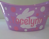 Easter Bunny Basket, Oval Easter Tub, Toy Storage Bucket