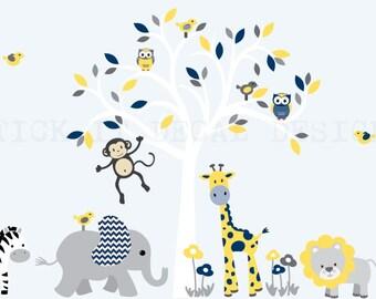 Wall Decal Jungle Animal Sticker Nursery Decor Giraffe - Kids wall decals jungle