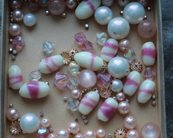 Vintage Beads - Pink and Creme - Unstrung