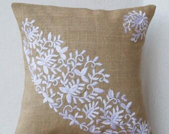 Burlap Pillows- Embroidered Pillow- White flower leaves pillow - Modern Pillow - leaves pillow- Burlap cushion- Burlap Throw Pillow- 18x18