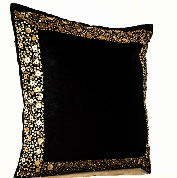 Decorative Pillows Black And Gold : Decorative Throw Pillows Black cushion with gold sequin
