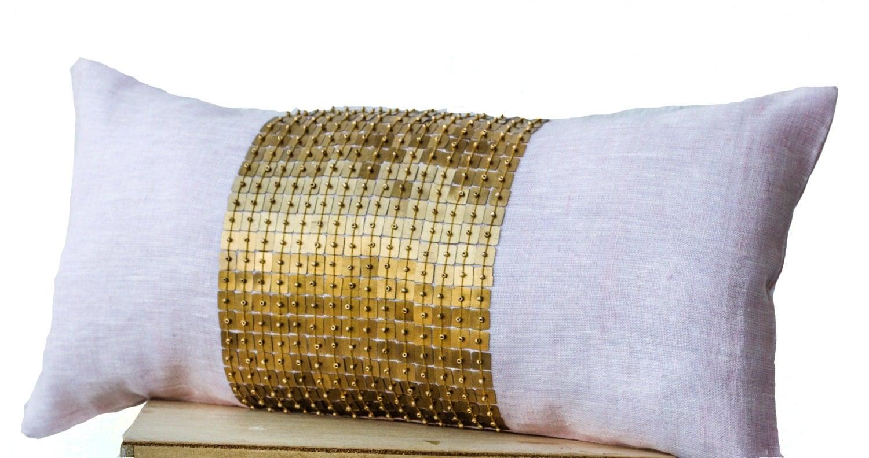 Pink Beaded Decorative Pillow : Pink Lumbar Pillows Pink gold color block pillows in silk
