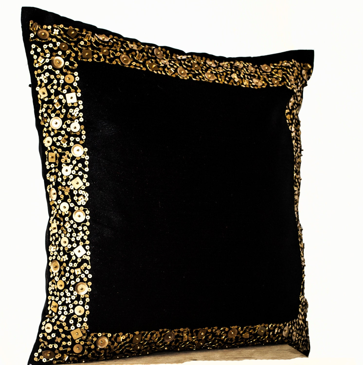 Decorative Throw Pillows Black cushion with gold sequin