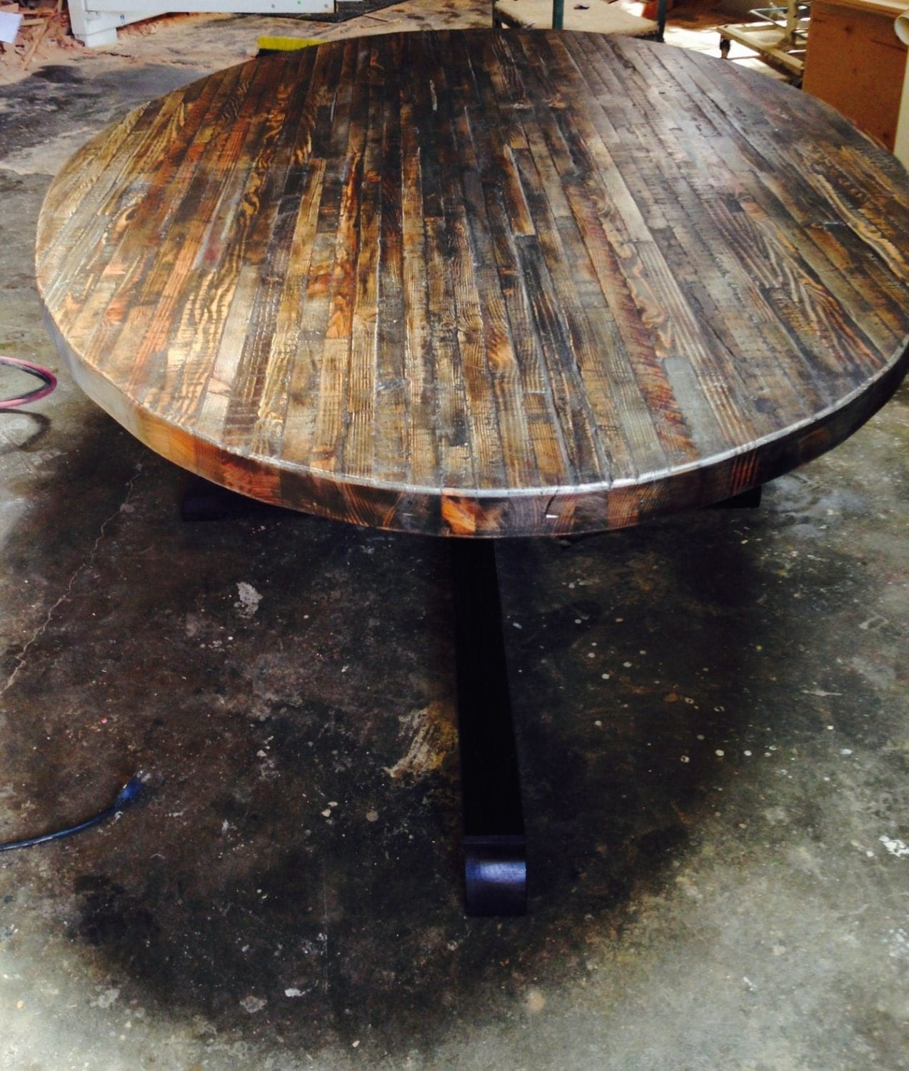Round butcher block kitchen table - Extra Large Custom Butcher Block Strip Oval Wood Dining Table From Reclaimed Wood