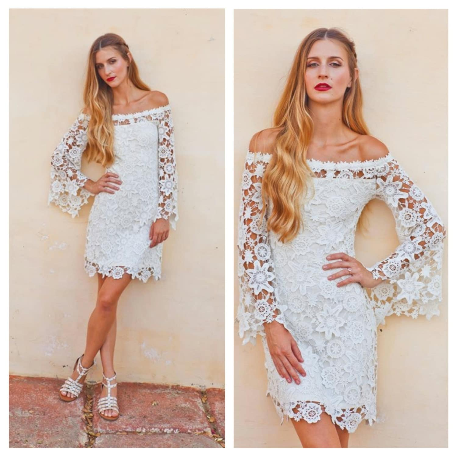 Lacy Clothing For Women Boho BELL SLEEVE crochet lace dress