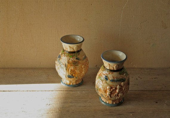 Two Antique Japanese Majolica Vases -- Relief Mould