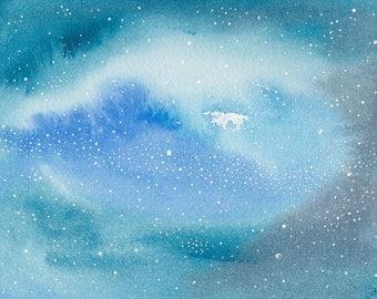 Abstract Painting 5x7 Celestial Cosmos Galaxy Stars Stardust Indigo Cerulean Blue Grey Original Watercolor Wonders Series No. 10