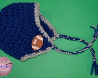 Baby Shower Gift. 6-12 months Baby Football Hat, Football Team Colors, Baby Photo Prop, Football Winter Hat, Football Baby Beanie, Baby Gift