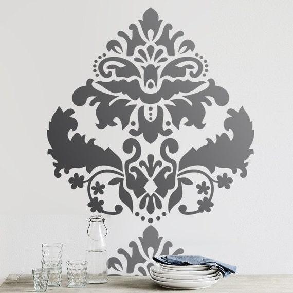 Parete stencil damascato allower extra large di omgstencils for Stencil x cucina
