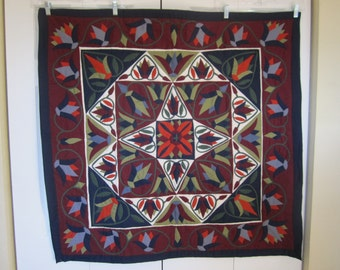 Wallhanging applique art , Egyptian, Handmade, Lotus  Blue x Green x Orange(7/3)