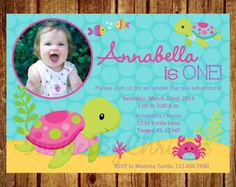 Turtle Under the Sea Photo Birthday Invitation for Girls- Digital File - DIY Printable Turtle Photo Invitation 1st, 2nd, 3rd, 4th, 5th, 6th