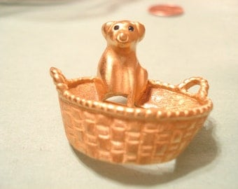 Adorable Vintage Puppy Dog In Basket Brooch By CAROLEE Gold Tone / Gold Dipped