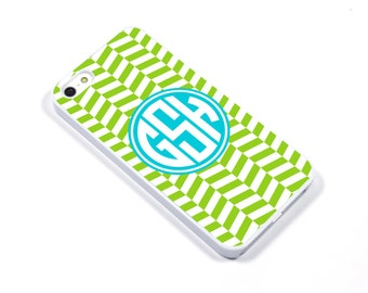iPhone 5/5s iPhone 5c iPhone 6/6plus Samsung Galaxy S3 S4 S5 iPod touch 4th/5th Gen -  Monogram herringbone grass turquoise - p07