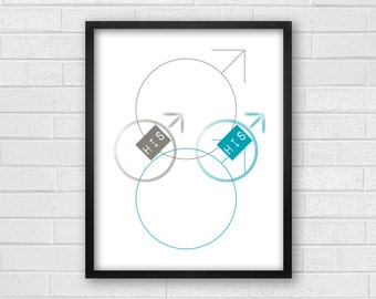 His & His Bathroom Wall Art - Gay Bathroom Art - Gay Bathroom Prints - His and His Symbols - Bath or Home Decor