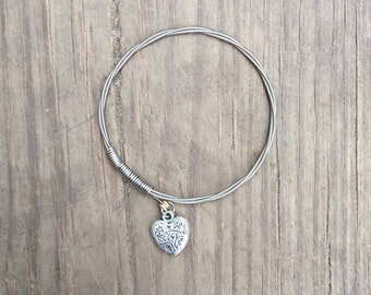 3D Heart Charm Bracelet made with Silver Guitar Strings    Guitar String Bracelet, Bangle Bracelet, Stacking Bracelet