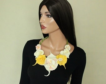 White yellow pink flowers felted Flowers necklace  Felted collar Felt necklace  Decollete decoration Pastel color flowers