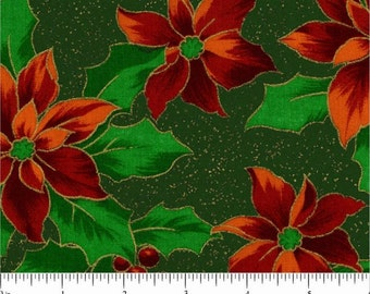 Christmas Poinsettia - Green w Metalic