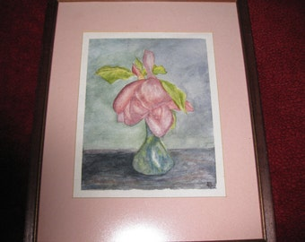 """FRAMED WATERCOLOR Wilting Rose Signed AB 12"""" X 15"""""""