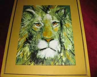 "FRAMED OIL PAINTING Panthera Leo Initialed By Artist 15"" X 18"""