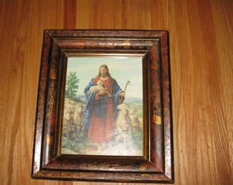 "1800s FRAME WITH VINTAGE Jesus Print 12 1/4"" X 14 1/4"" To Outside Of Frame"