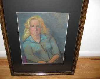 "PASTEL PORTRAIT Beautiful Young Blonde Lady 17 1/2"" X 21 3/4"""