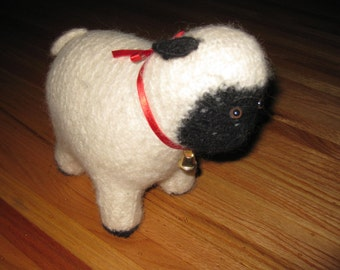 "KNITTED STUFFED SHEEP Handmade Over 30 Years Ago 10"" Long"