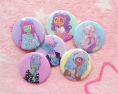 Monster Girls pinback buttons