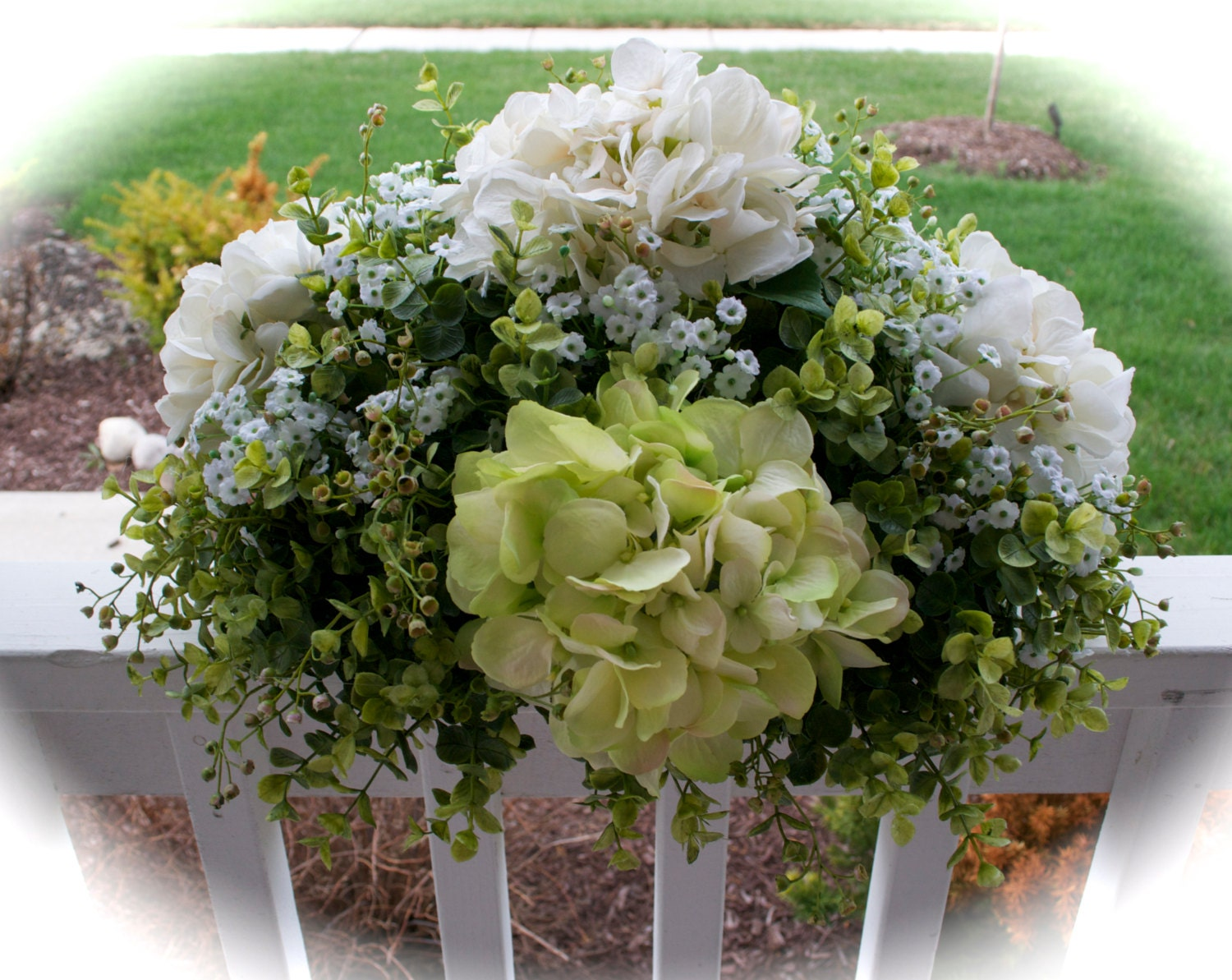 Green ivory hydrangea floral arrangement centerpiece