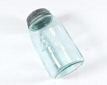 Blue Ball Mason Quart Jar, 3L Logo, Antique c.1896-1910, Zinc Lid, Shoulder Seal, RB234