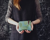 Turquoise & Avocado Screenprinted Leather Pouch Small - Woodcuts