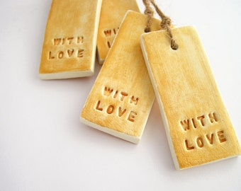Gold gift tags, with love tags, Christmas gift tags, rustic gift tags, holiday gift wrap, wedding favor tags, minimal tags, set of 4