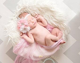 Flower Girl Headband, Pink and White Little Girl Headband