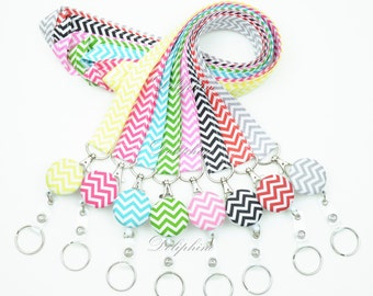 Chevron Lanyard Fabric Lanyard and Retractable ID Badge Reel Holder with Keychain