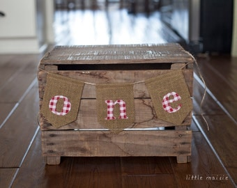 ONE Red & White Gingham Burlap High Chair Banner for First Birthday or Cake-Smash