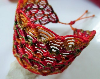 Red & Orange Macrame Wide Friendship Bracelet Handmade wristband