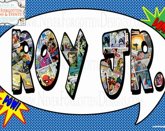 Super Hero Comic Book Name Poster