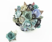 Something blue paper flower bouquet rose bridal posy & matching groom's buttonhole