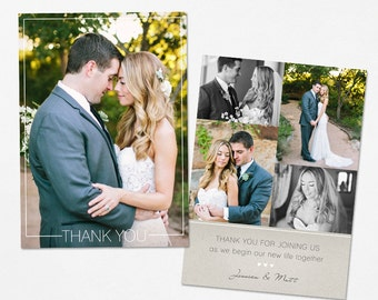 Wedding Thank You Card - Template for Photographers PSD Flat card - Simply Framed CT001