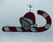 Christmas Mouse Stained Glass Suncatcher
