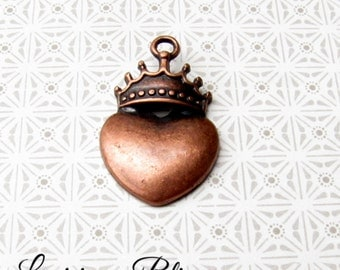 10 Pieces Heart with Crown Pendant Charm, Claddagh charms, 8x18mm Antique Copper 1-18-C