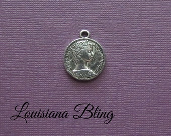 12 Pieces Coin Pendant Charm Reversible 20mm Antique Silver Finish, coin charms, 2-45-S