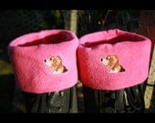 Fleece boot sock/warmers in choice of colours & two sizes, featuring hand embroidered dogs head on the cuffs