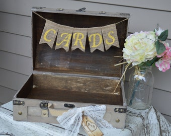 shabby chic card box, yellow and gray wedding card box, vintage wedding trunk (TR101)